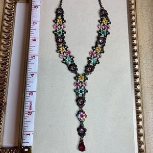 """Jeweled Drop Necklace with 3"""" Extender"""